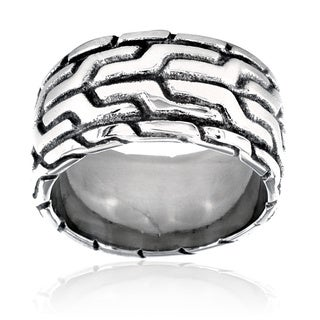 Stainless Steel Men's Aztec Pattern Ring
