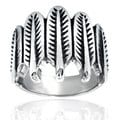 Stainless Steel Feather Wrap Ring