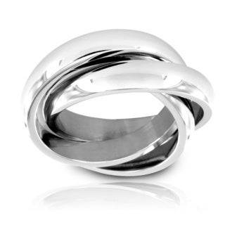 West Coast Jewelry Stainless Steel Intertwined Triple Band Ring