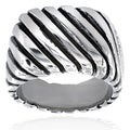 Stainless Steel Men's Rope Grooved Ring