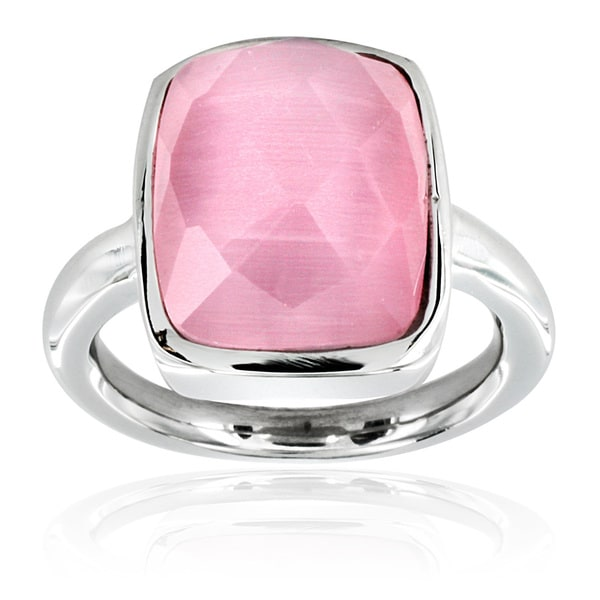 Stainless Steel Faceted Pink Resin Stone Ring
