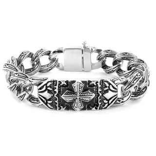 Stainless Steel Gothic Engraved Cross Bracelet