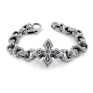 Stainless Steel Gothic Cross and Infinity Link Bracelet