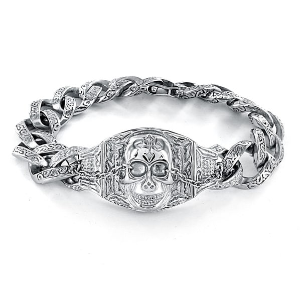 Stainless Steel Embossed Skull and Chain Bracelet