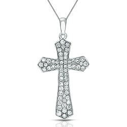 Auriya 14k White Gold 1/4ct TDW Diamond Cross Necklace (G-H, I1-I2)
