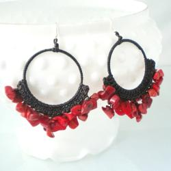Stylish Red Chandelier Sterling Silver Earrings (Thailand)