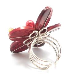 Red Mother of Pearl Flower Ring (Thailand)