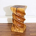 Monkey Pod Wood Triple Twist Stool (Thailand)