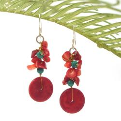 Red Donut Coral-Turquoise Dangle Earrings (Thailand)