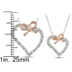 M by Miadora Sterling Silver 1/5ct TDW Diamond Heart Necklace Mother-Daughter Boxed Set (H-I, I2-I3)
