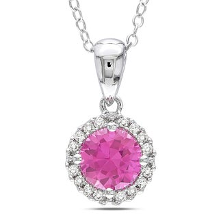 M by Miadora Sterling Silver Pink Sapphire and 1/10ct TDW Diamond Necklace (H-I, I2-I3)