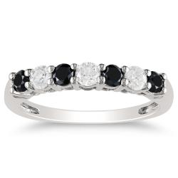 Miadora 10k Gold 3/4ct TDW Black and White Diamond Anniversary Ring (H-I, I2-I3)