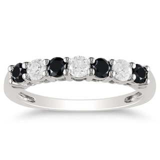 Miadora 10k Gold 3/4ct TDW Black and White Diamond Wedding Band (H-I, I2-I3)
