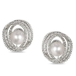 Miadora Sterling Silver Pearl and 1/4ct TDW Diamond Earrings (H-I, I2-I3) (8-8.5 mm)