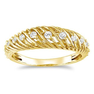 Haylee Jewels 18k Gold over Silver 1/4ct TDW Diamond Ring (H-I, I2-I3)