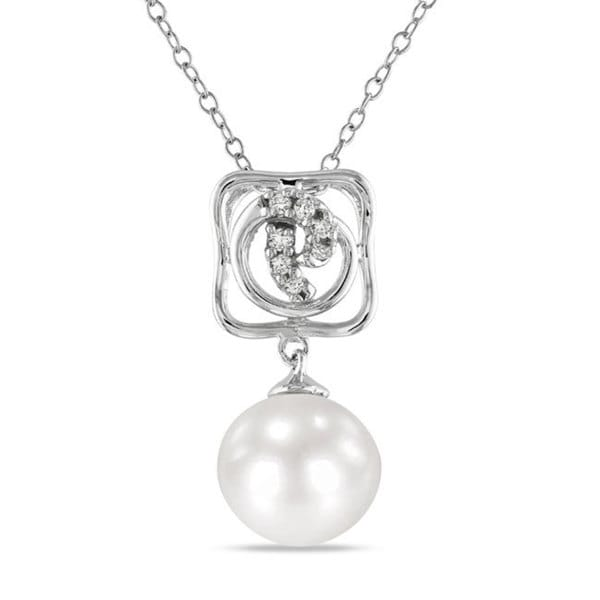 M by Miadora Sterling Silver Pearl and Diamond Accent Necklace (10-10.5 mm)