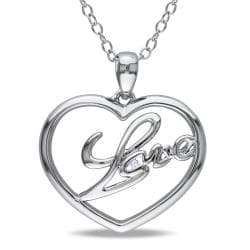 Miadora Sterling Silver Diamond Accent 'Love' Heart Necklace