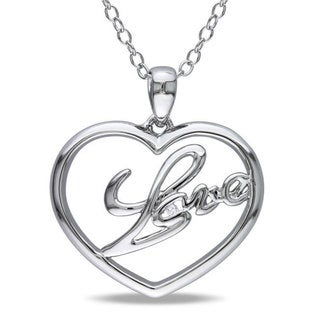 M by Miadora Sterling Silver Diamond Accent 'Love' Heart Necklace