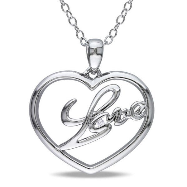 Haylee Jewels Sterling Silver Diamond Accent 'Love' Heart Necklace