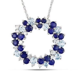 Miadora 10k Gold Blue Topaz, Sapphire and 1/5ct TDW Diamond Necklace (H-I, I2-I3)