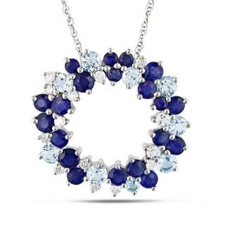 Miadora 10k Gold Blue Topaz, Sapphire and 1/5ct TDW Diamond Necklace (H-I, I2-I3)