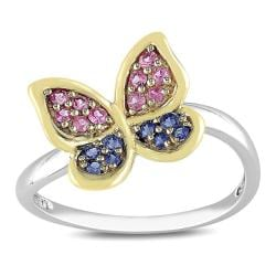 Miadora 10k Two-tone Gold 1/4ct TGW Sapphire Butterfly Ring