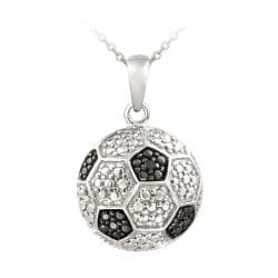 DB Designs Sterling Silver Black Diamond Accent Soccer Ball Necklace