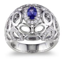 Miadora 14k White Gold Tanzanite and 1/3ct TDW Diamond Ring (G-H, SI1-SI2)