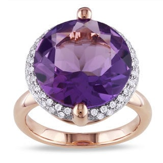 Miadora Signature Collection 14k Pink Gold Amethyst and 1/4ct TDW Diamond Ring (G-H, SI1-SI2)