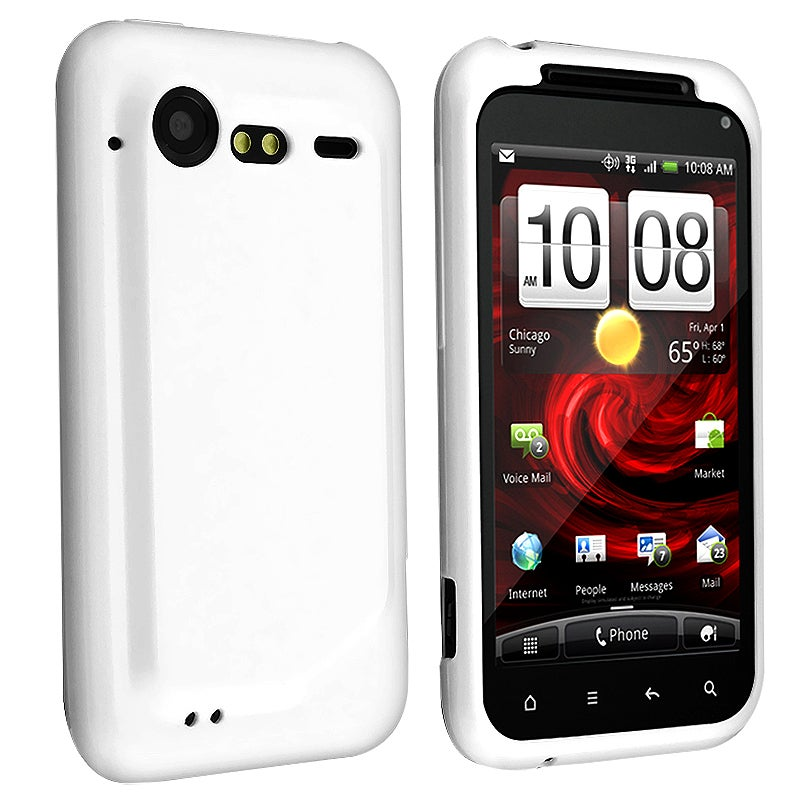 White Jelly TPU Rubber Skin Case for HTC Droid Incredible S