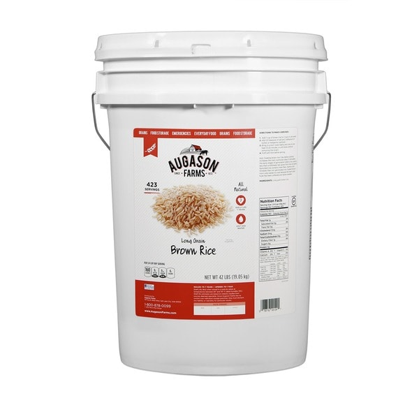 Augason Farms Long-grain Brown Rice Six-gallon Pail