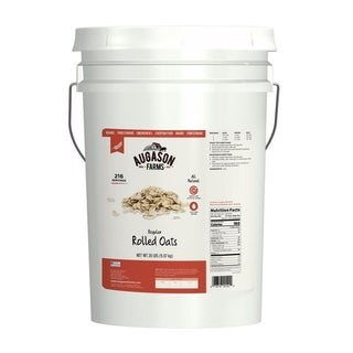 Augason Farms Regular Rolled Oats Hot or Cold Cereal (Six-gallon Pail)