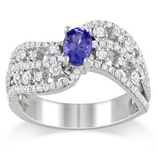Miadora Signature Collection 14k White Gold Tanzanite and 3/4ct TDW Diamond Ring (G-H, SI1-SI2)