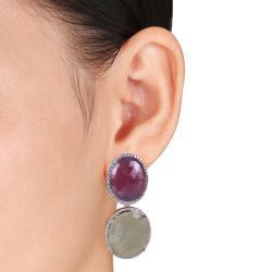 Miadora 14k Yellow Gold Sapphire and 1ct TDW Diamond Earrings (G-H, SI1-SI2)
