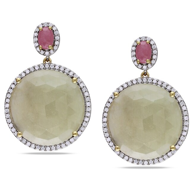Miadora Signature Collection 14k Yellow Gold Sapphire and 3/4ct TDW Diamond Earrings (G-H, SI1-SI2)