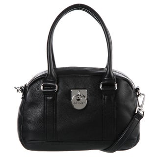 Calvin Klein Vienna Black Leather Satchel Bag