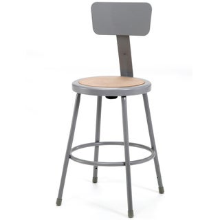 NPS Round Hardboard Seat Stool with Adjustable Backrest