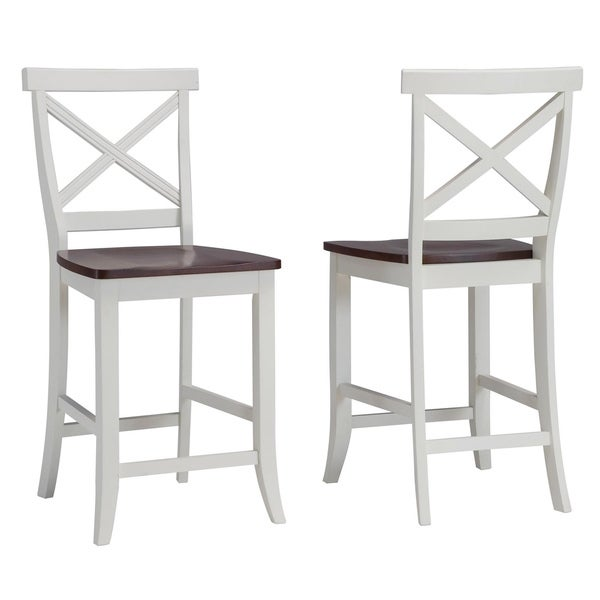 Traditions White and Cherry 24-inch Bar Stool