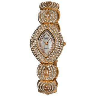 Burgi Women's Oval Crystal Quartz Rose-Tone Bracelet Watch
