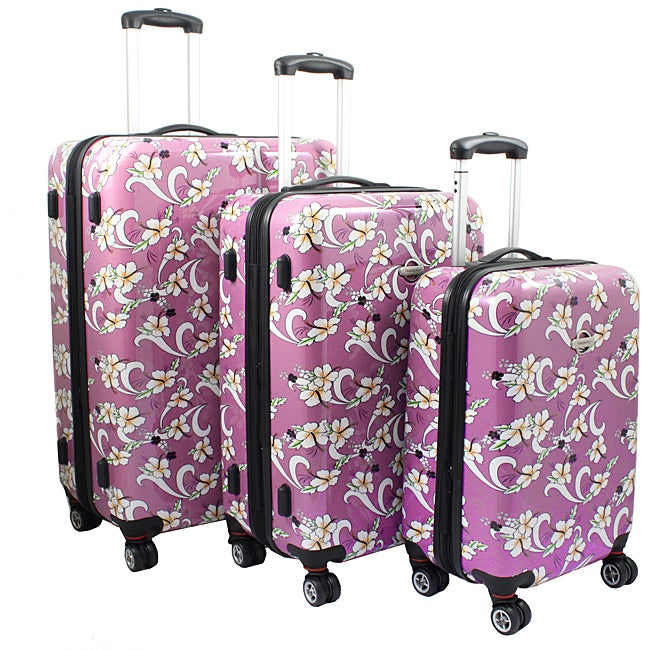 Pink Tropical Flower 3-piece Lightweight Expandable Hardside Spinner Luggage Set
