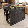 Nantucket Distressed Black Finish Kitchen Island
