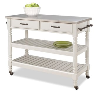 Savannah White Kitchen Cart | Overstock.com Shopping - Great Deals