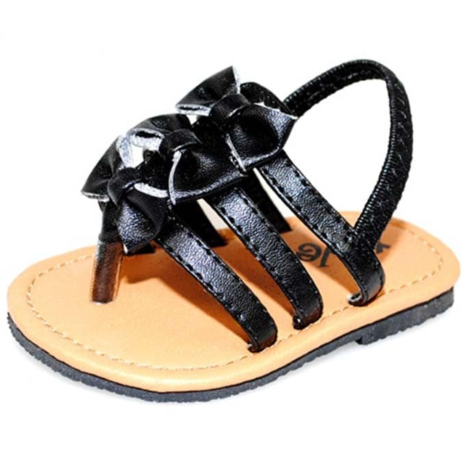 Baby Girl Black Bow Fashion Crib Sandals
