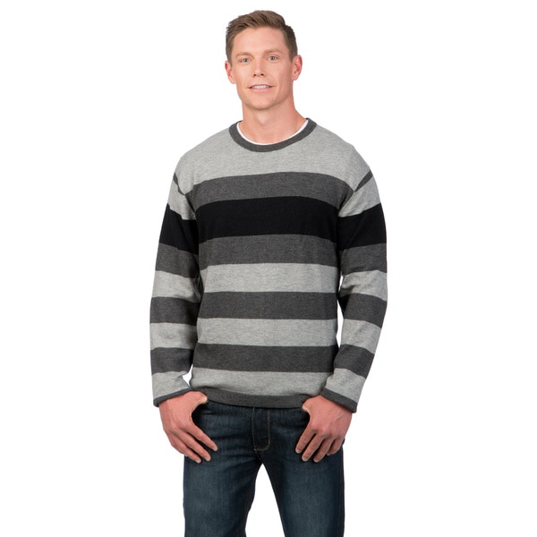 Weatherproof Men's Engineered Stripe Merino Wool/Cashmere Blend Sweater