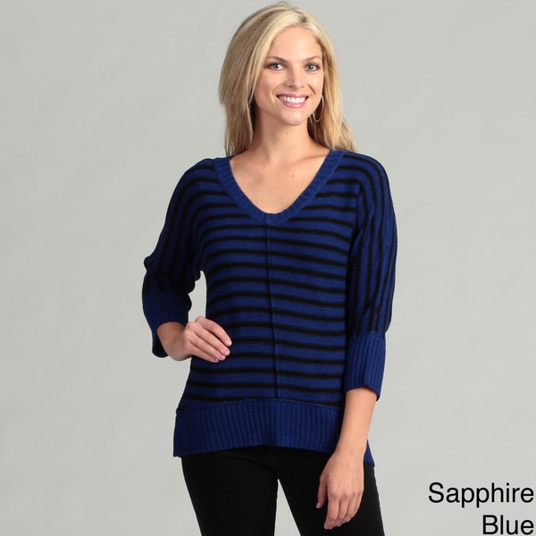 Cable & Gauge Women's Striped Dolman Sleeve Sweater Top