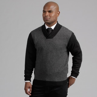 Weatherproof Men's Houndstooth Merino Wool/Cashmere Blend Sweater