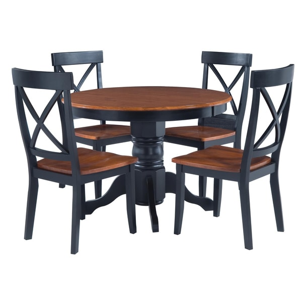 home styles black cottage oak 5 piece dining furniture set 14192874