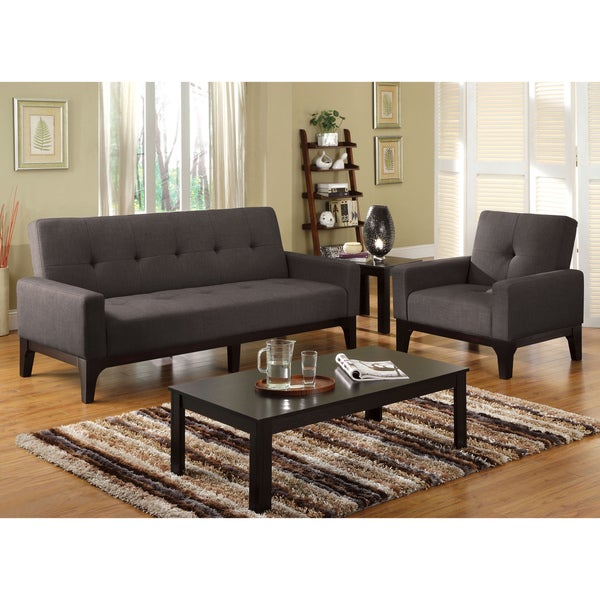 Furniture of America Charlie Charcoal Convertible Futon/ Chair Set