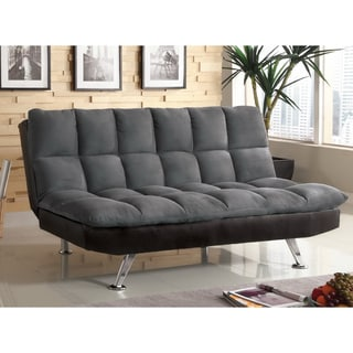 Furniture of America Elephant Skin Dark Grey Microfiber Futon