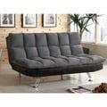 Furniture of America Elephant Skin Dark Grey Microfiber Futon